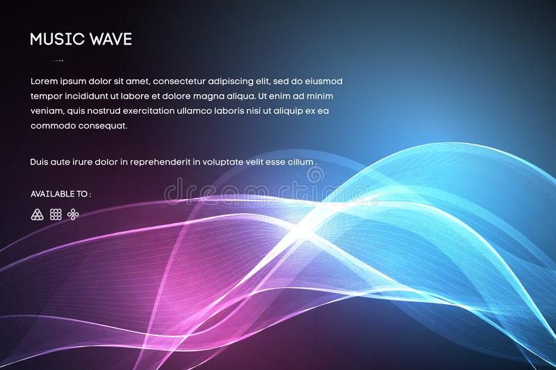 Sound Wave  Abstract Neon Background, Vector Music Voice