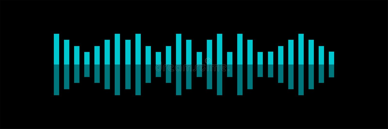 Sound wave. Voice recognition concept flat vector illustration of sound symbol. Bright voice and sound imitation lines royalty free illustration