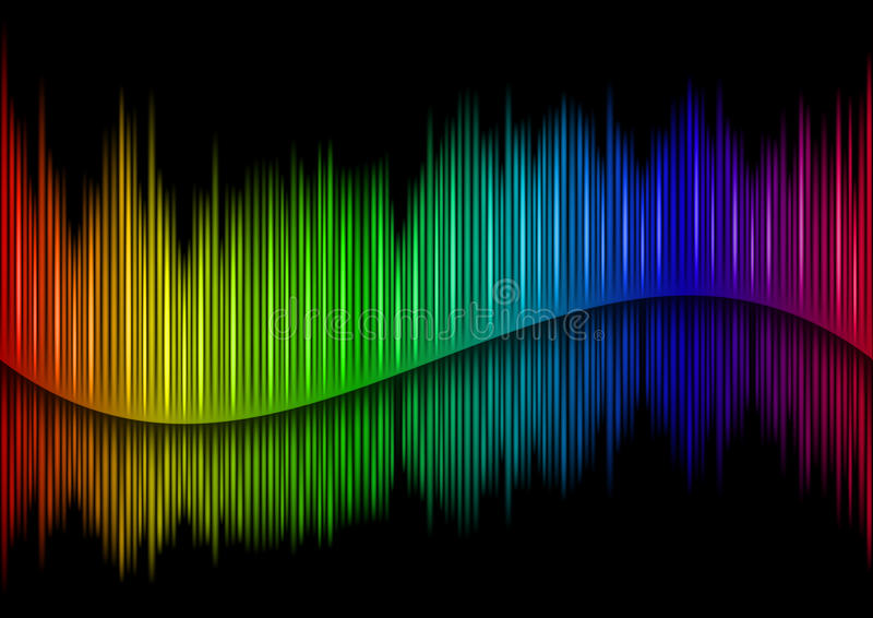 Sound waveform. Colorful Sound waveform (editable vector) on black royalty free illustration