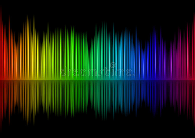 Sound waveform. Colorful Sound waveform (editable vector) on black stock illustration