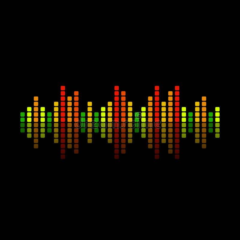 Sound Waveform with Reflection on Black vector illustration