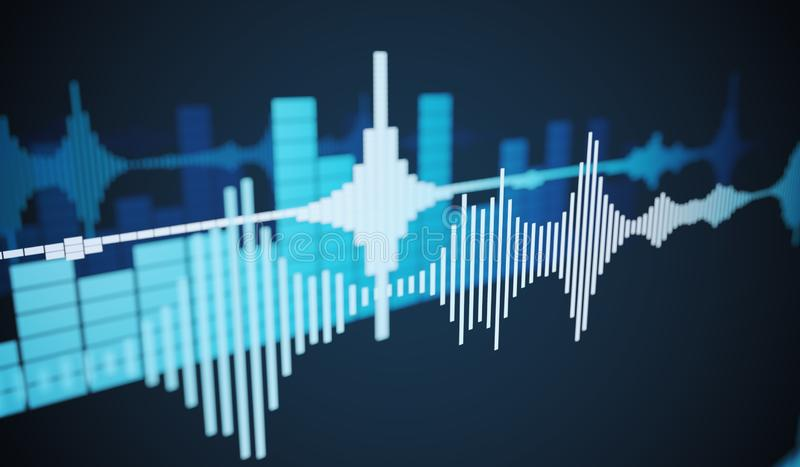 Sound waves - abstract background. 3D rendered illustration. Sound waves - abstract background. 3D rendered illustration royalty free illustration