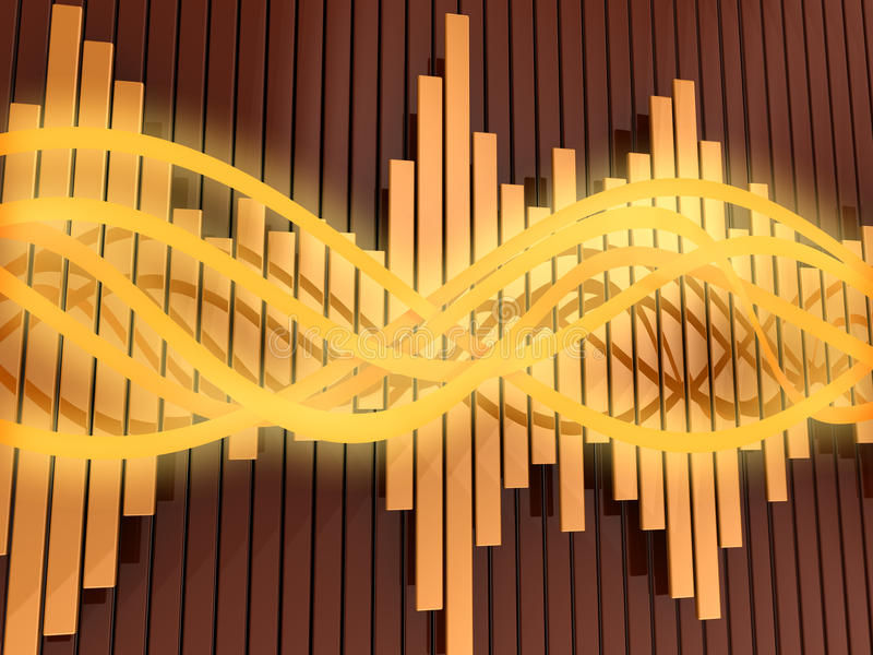 Sound waves. Abstract 3d illustration of orange colors background with audio waves and spectrum royalty free illustration