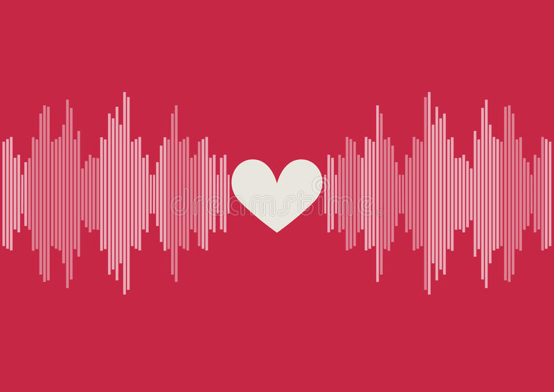 Sound waves bar illustration on pink background with white heart shape stock images