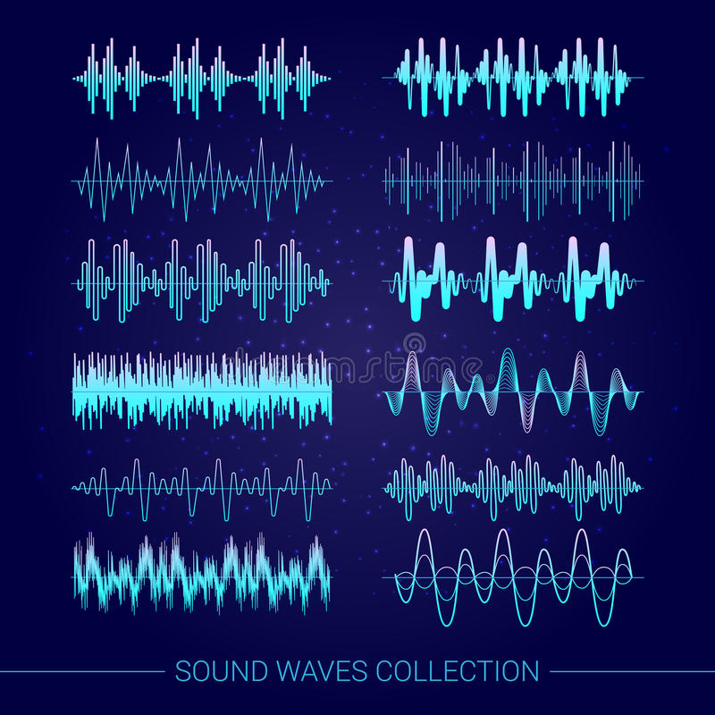 Sound Waves Collection. With audio symbols on blue background flat isolated vector illustration stock illustration