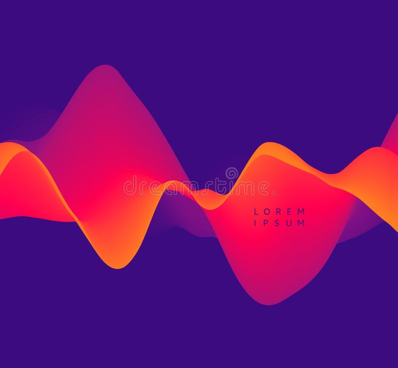 Sound waves. 3D wavy background with dynamic effect. Abstract vector illustration for flyer, brochure, booklet and websites design.  royalty free illustration