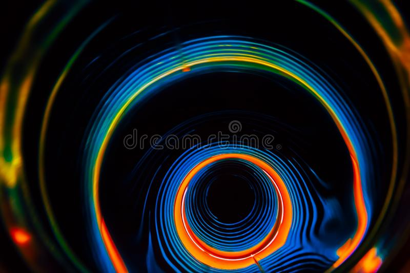 Sound waves in the dark in full color. Sound waves in the visible full color in the dark stock image