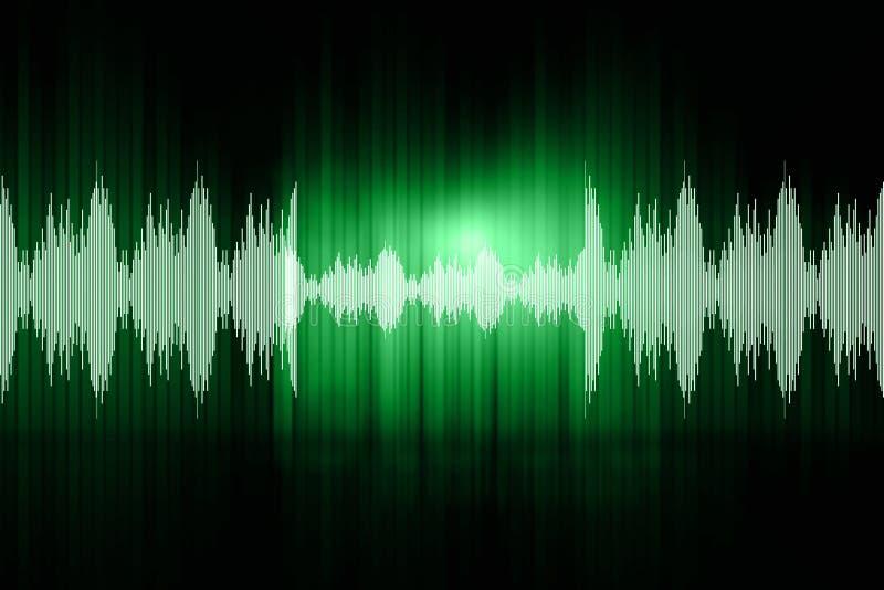 Sound waves. Digital design of sound waves on green background vector illustration