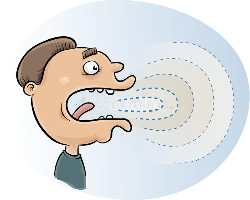 Sound Waves. Emerge from a speaking cartoon man's mouth vector illustration