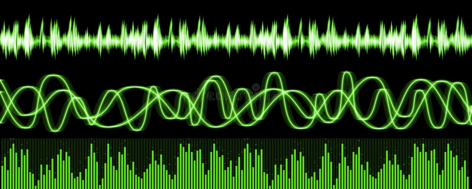 Sound Waves Equalizer. Computer generated sound waves and equalizer as seen in various audio editing application. Created in Photoshop CS2 vector illustration