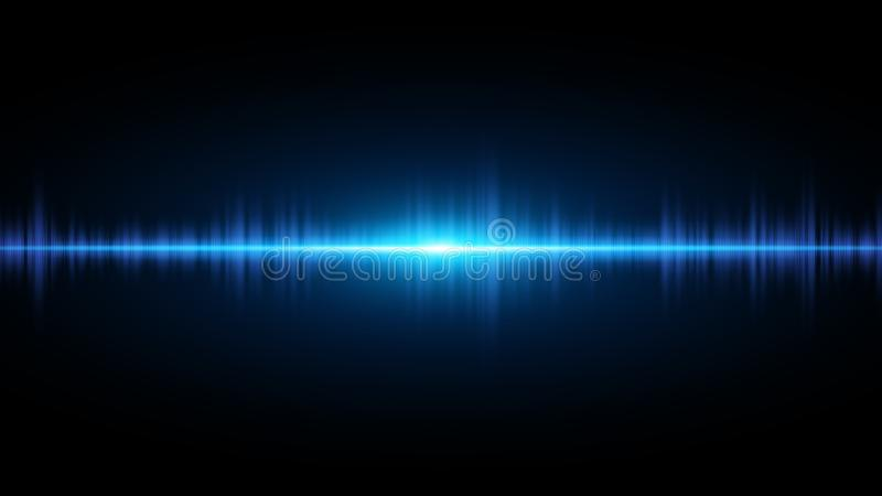 Sound waves of light blue on a dark background. Background for the radio, club, party. Vibration of light. Bright flash of light. royalty free illustration