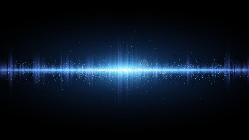 Sound waves of light blue on a dark background. Background for the radio, club, party. Vibration of light. Bright flash of light w vector illustration