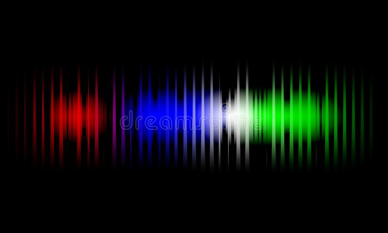 Sound waves of light color on a dark background. Background for the radio, club, party. Vibration of light. Bright flash of light. Sound waves of light colorful royalty free illustration