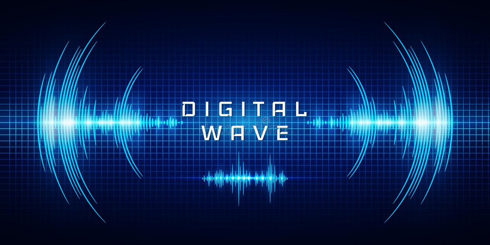 Sound waves oscillating glow light, Digital wave, Abstract technology background - Vector vector illustration