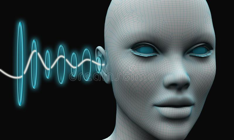 Sound waves penetrate into the ear of a person`s head stock illustration