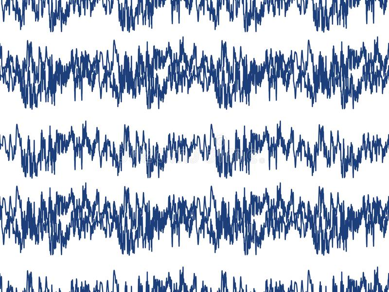 Sound waves seamless pattern. Audio technology endless background, musical pulse repeating texture. Modern geometric. Backdrop. Vector illustration vector illustration