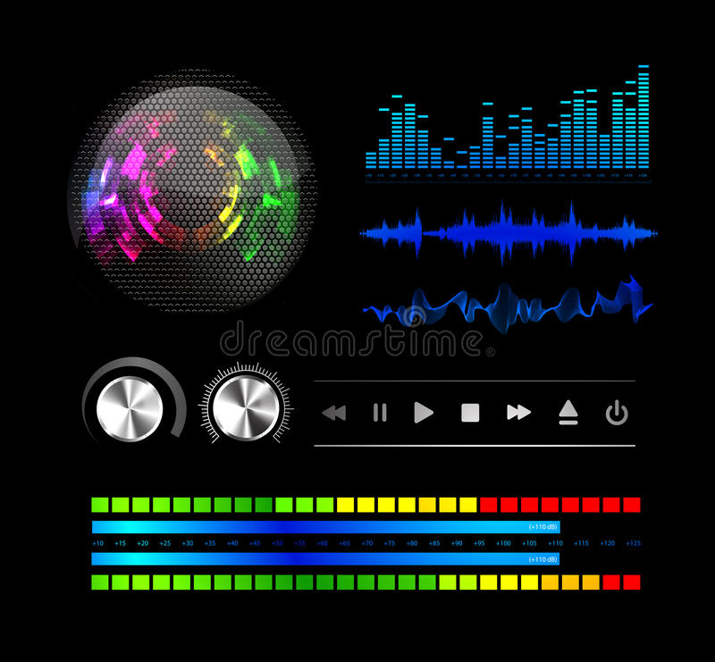 Download Sound waves set stock vector. Image of graph, signal - 23010583