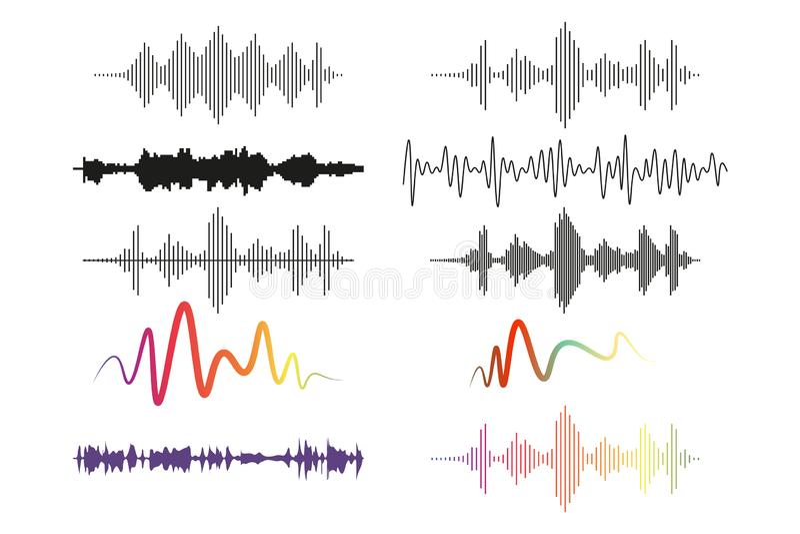 Sound waves set, audio digital equalizer technology, musical pulse vector Illustrations on a white background royalty free illustration