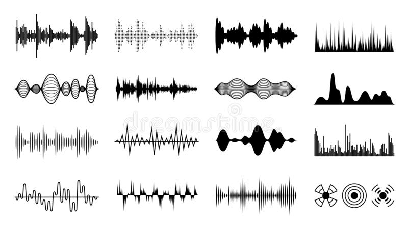 Sound waves set. Black digital radio musical wave. Audio soundtrack shapes. Player pulse forms isolated vector set. Sound waves set. Black digital radio musical vector illustration