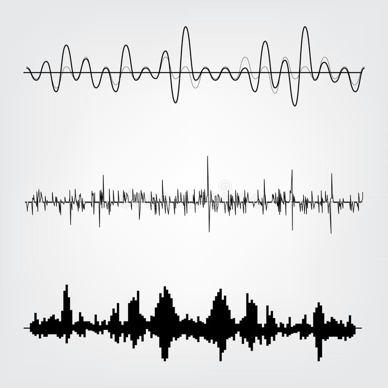 Sound waves set. Sound waves icon set. Audio equalizer technology, pulse musical. Vector illustration stock illustration