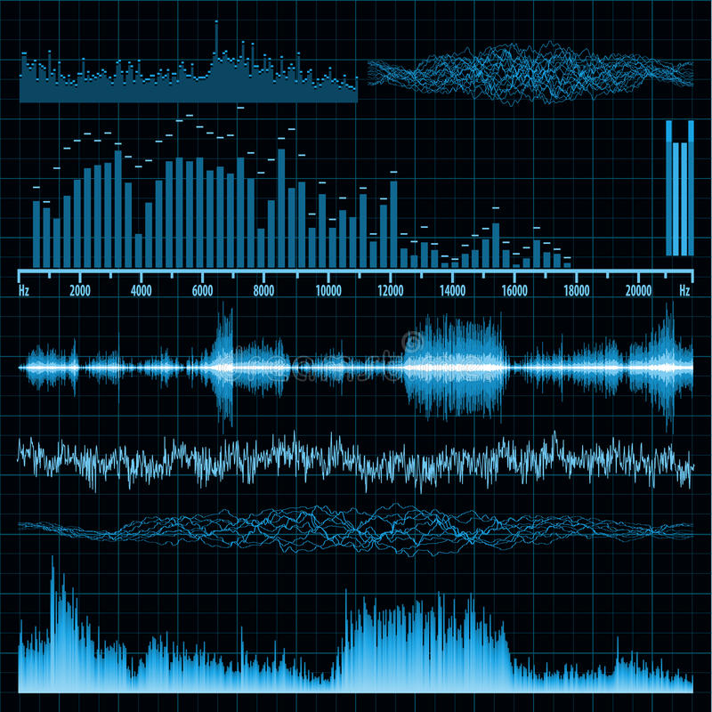 Sound waves set. Music background. EPS 8 royalty free illustration