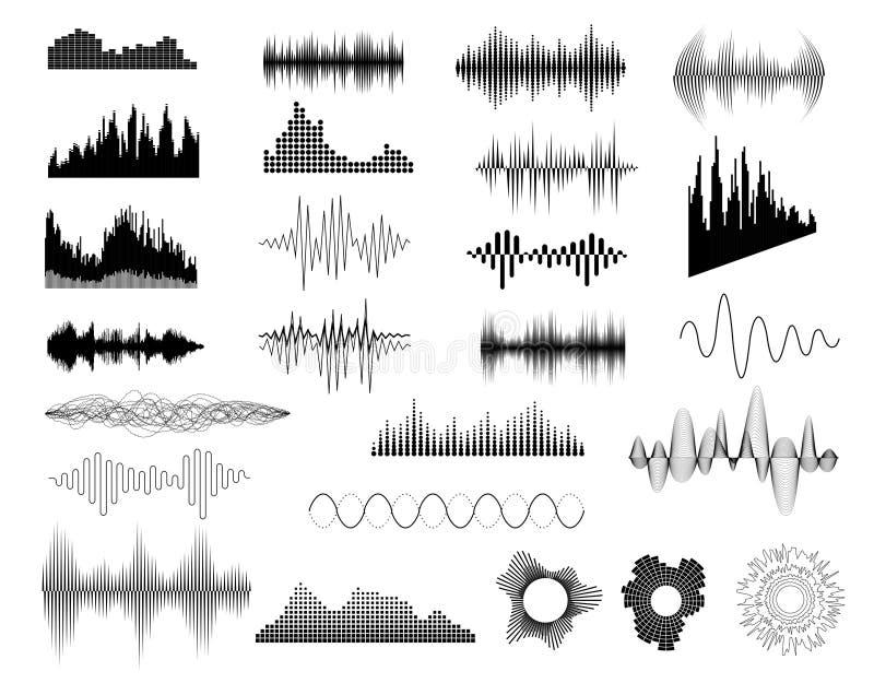 Sound waves set vector illustration
