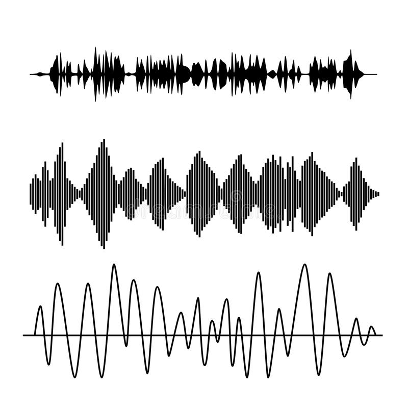Sound waves. Vector sound waves set. Audio technology advertising background stock illustration