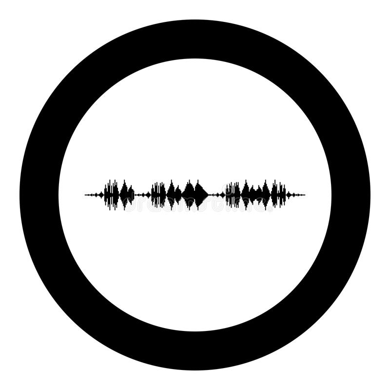 Soundtrack pulse music player audio wave equalizer element floating sound wave icon black color in round circle stock illustration