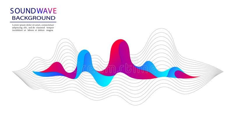 Soundwave musical en fondo isloated Onda acústica y forma abstractas de pulso para la radio, audio Fondo de moda con soundwave stock de ilustración