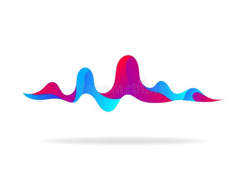 Soundwave musical no fundo isloated Onda sadia e formulário abstratos do pulso para o rádio, áudio Fundo na moda com soundwave ilustração royalty free