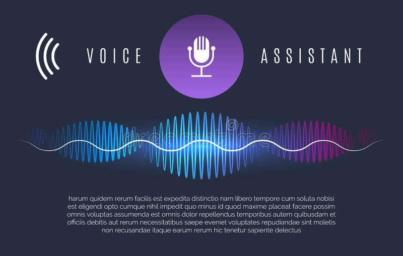 Soundwaves recognition assistant. Speech technology intelligence personal help, sound device controls and home voice assist concept, vector illustration royalty free illustration