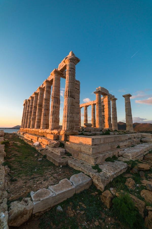 Sounion, świątynia Poseidon w Grecja, zmierzch godziny zdjęcie stock