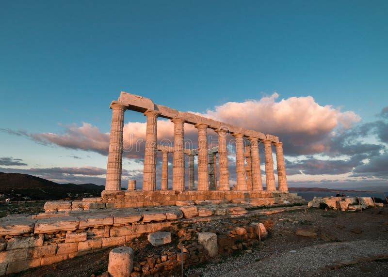 Sounion, świątynia Poseidon w Grecja, zmierzch Złota godzina zdjęcia stock