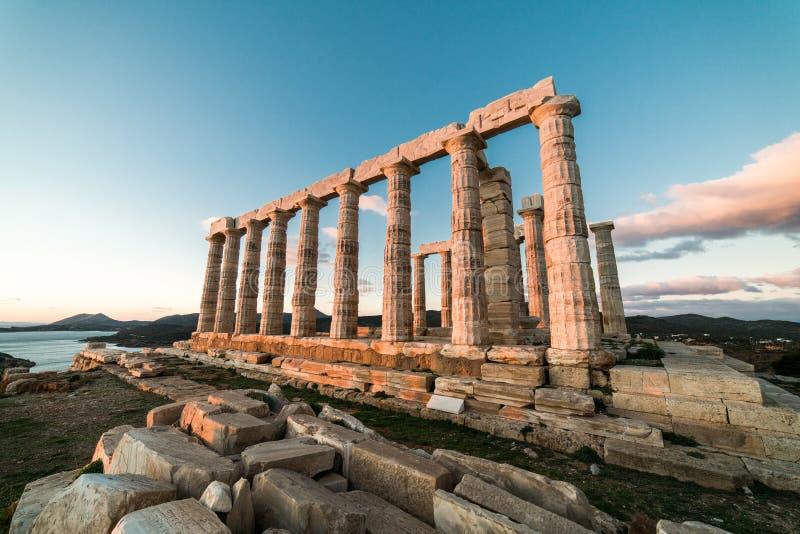 Sounion, świątynia Poseidon w Grecja, zmierzch Złota godzina zdjęcie royalty free