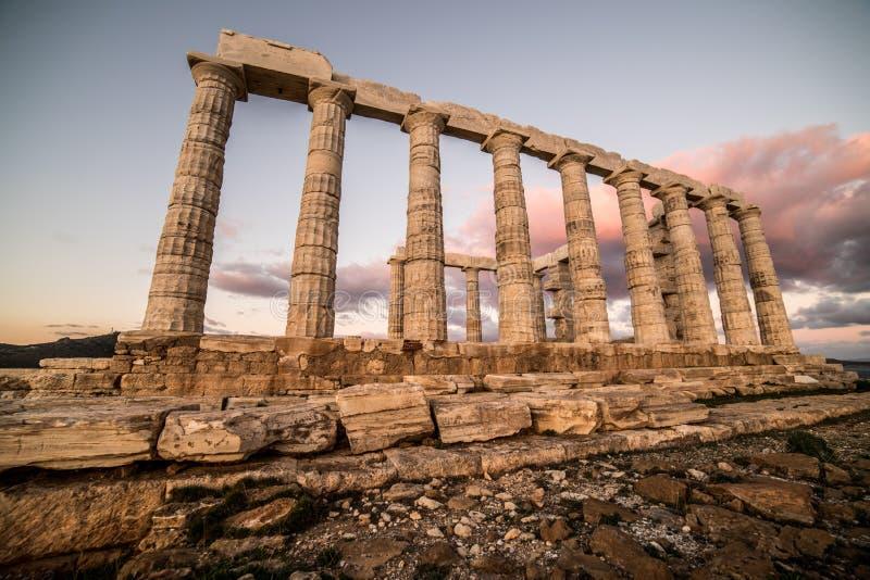 Sounion, świątynia Poseidon w Grecja, zmierzch Złota godzina fotografia royalty free