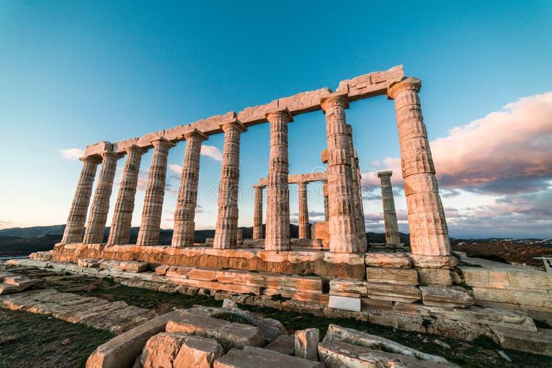 Sounion, świątynia Poseidon w Grecja, zmierzch Złota godzina obraz royalty free