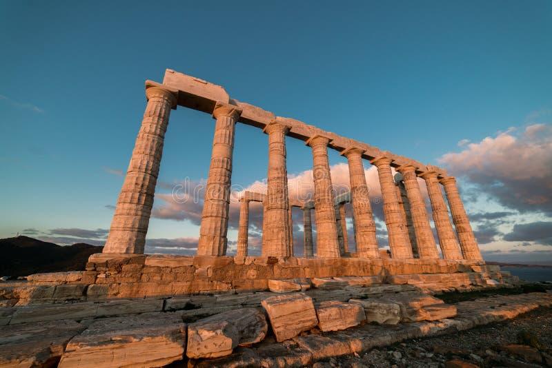 Sounion, świątynia Poseidon w Grecja, zmierzch Złota godzina zdjęcia royalty free