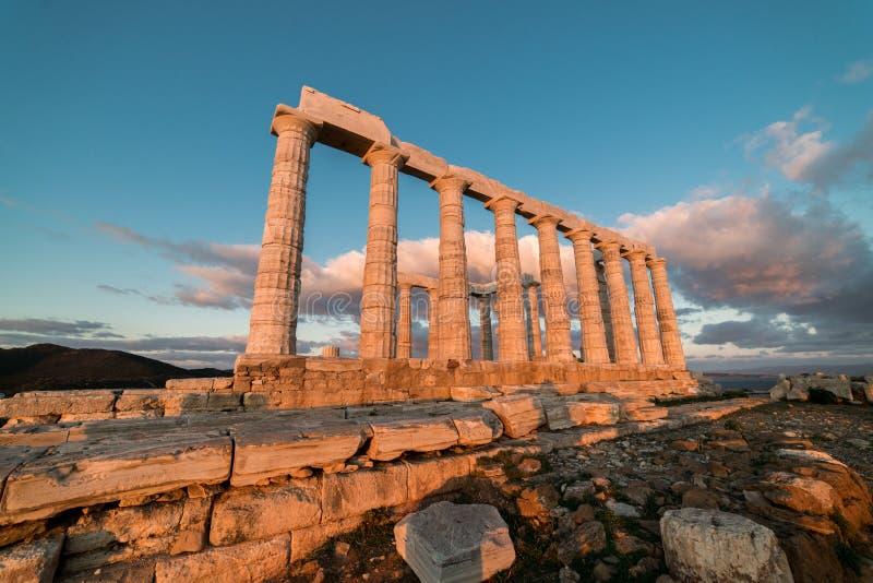 Sounion, świątynia Poseidon w Grecja, zmierzch Złota godzina zdjęcie stock
