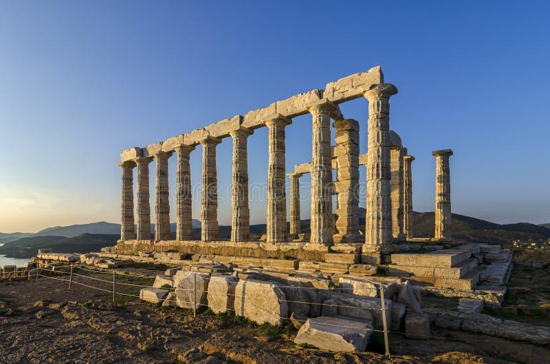 Sounion Attica/Grekland: Templet av Poseidon fotografering för bildbyråer