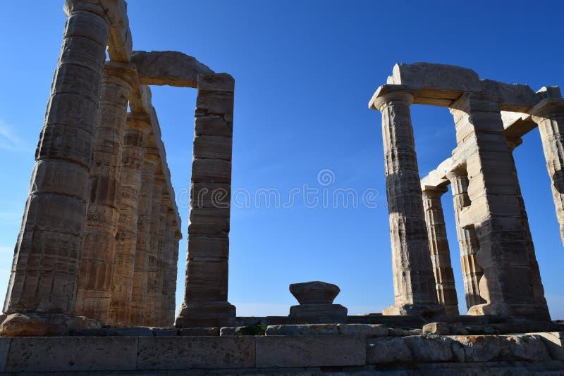 Sounion der altgriechische Tempel von Poseidon lizenzfreie stockbilder