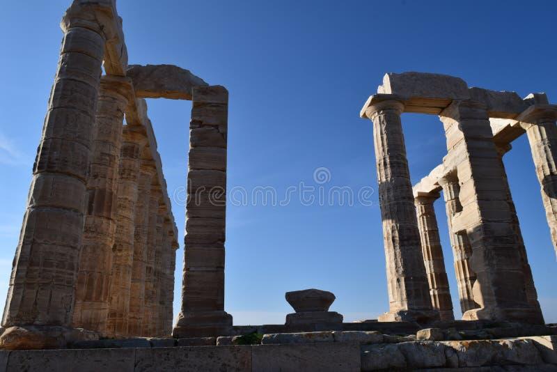 Sounion der altgriechische Tempel von Poseidon lizenzfreies stockfoto