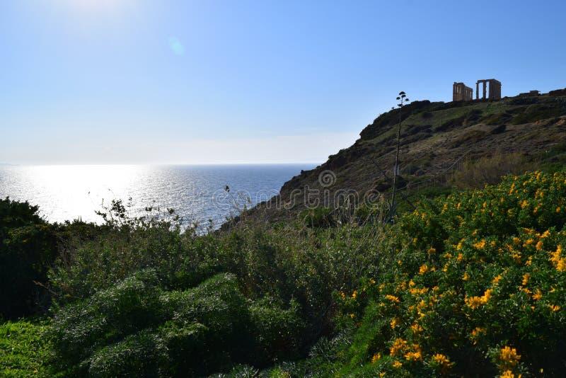 Sounion o templo do grego clássico de Poseidon fotos de stock royalty free