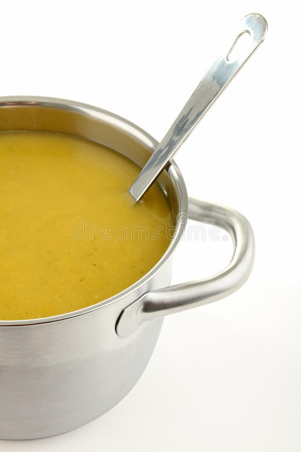 Soup. Vegetable healthy soup in cooking pot royalty free stock image