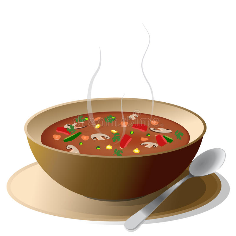 Soup. Bowl of hot vegetable soup on plate, with spoon,isolated on white stock illustration