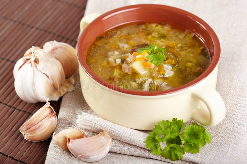 Soup. The Russian cuisine. Rassolnik soup royalty free stock photo