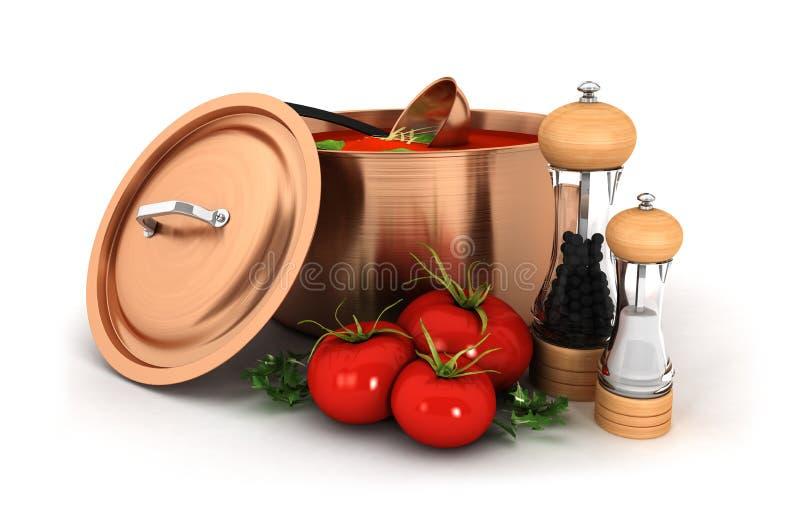 soup 3d med ingrediensen royaltyfri illustrationer