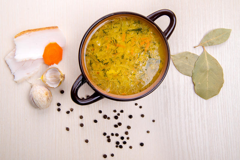 Soup with bacon and garlic stock photography