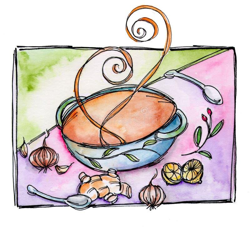 Download Soup Bowl stock illustration. Image of cuisine, bowl - 24744751