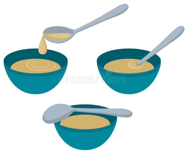 Soup Bowl Spoon Cartoon stock illustration