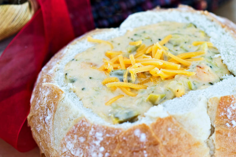 Download Soup in a Bread Bowl stock photo. Image of shredded, cheddar - 11651786